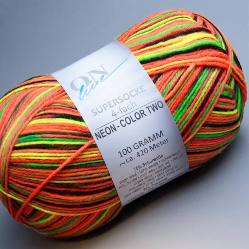 ONline Supersocke 4-fach Neon-Color Two 1729 100g