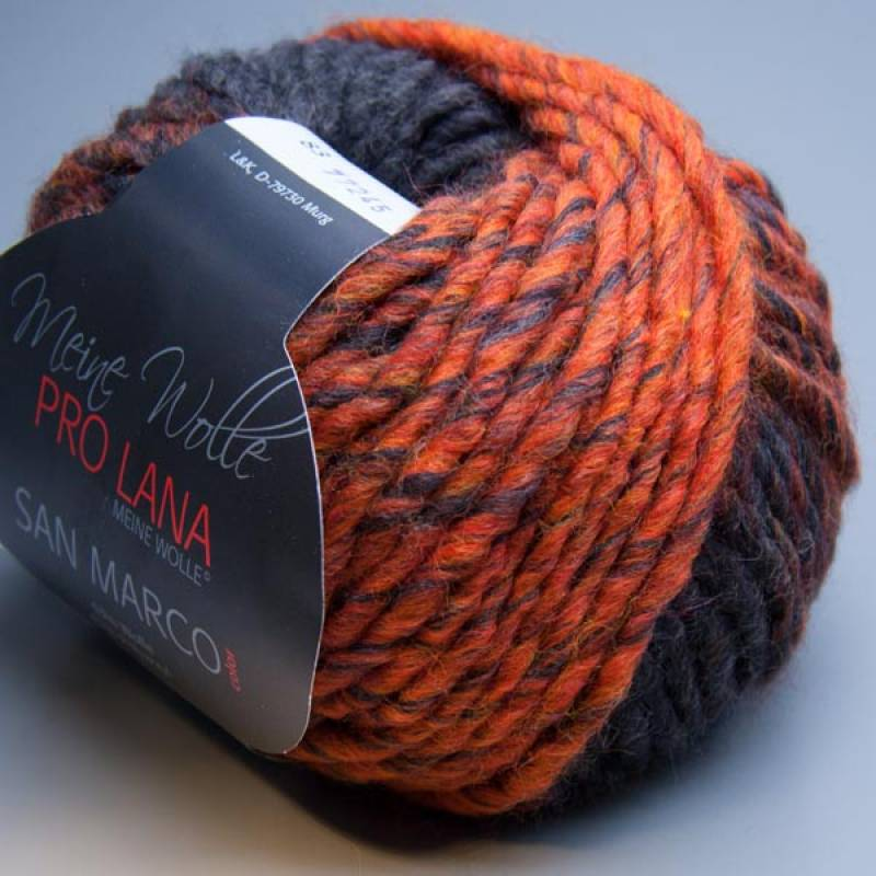 Pro Lana San Marco Color 83 orange-anthrazit 50g